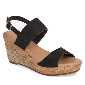 NWOT UGG Black Elena Platform Wedge Sandal 8.5